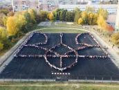 У Вінниці студенти створили 70-метровий живий герб України