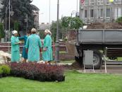 На майдані Незалежності створюють клумби з подільським ландшафтом