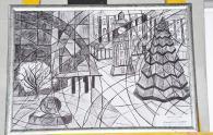 У холі міської ради можна побачити дитячі картини зимової Вінниці