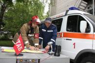 На вулиці Ю.Клена рятувальники гасили умовну пожежу на 8-му поверсі гуртожитку
