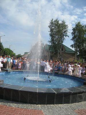 Фонтан на новій європейській площі у Крижополі