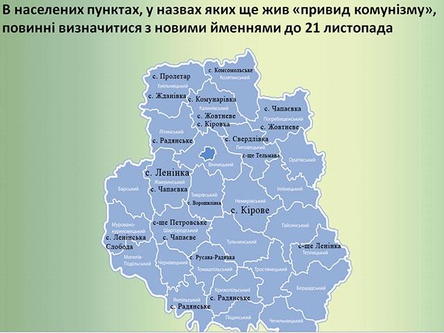 На Вінниччині нові назви дадуть 19 населеним пунктам ма майже 1,4 тис. вулицям