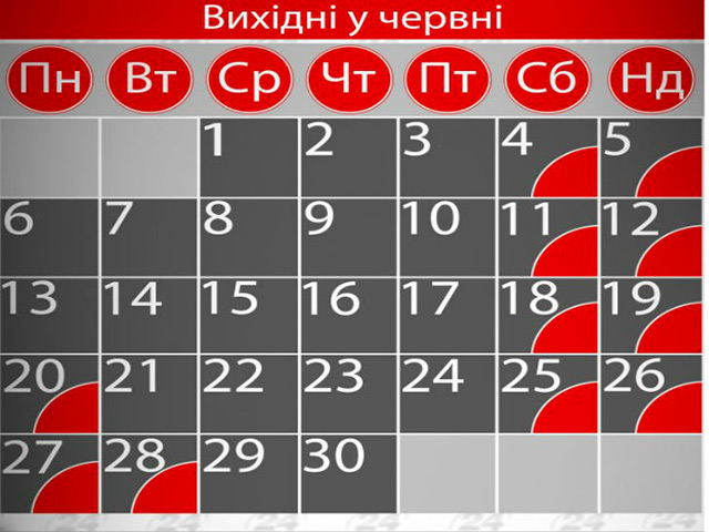 Коли вінничани відпочиватимуть у червні? Графік вихідних днів