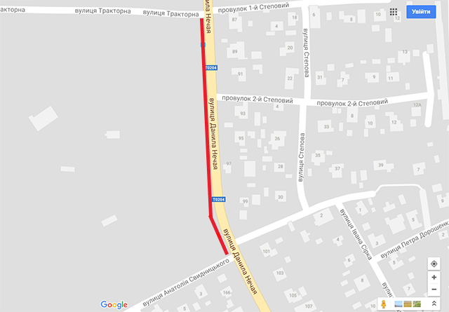 До 11 липня буде обмежено рух транспорту на ділянці по вулиці Д. Нечая