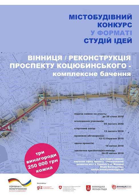 По 250 тисяч гривень можуть отримати три команди, які запропонують найкращі проекти по реконструкції проспекту Коцюбинського