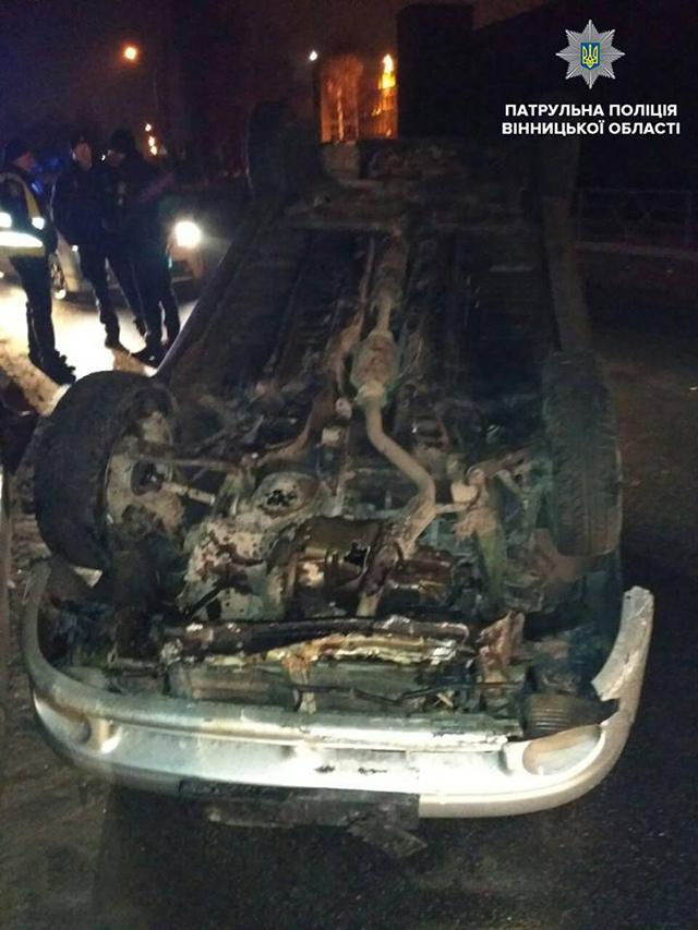 У Вінниці нетверезий водій Ланоса, намагаючись втекти  від поліції, скоїв дві  ДТП