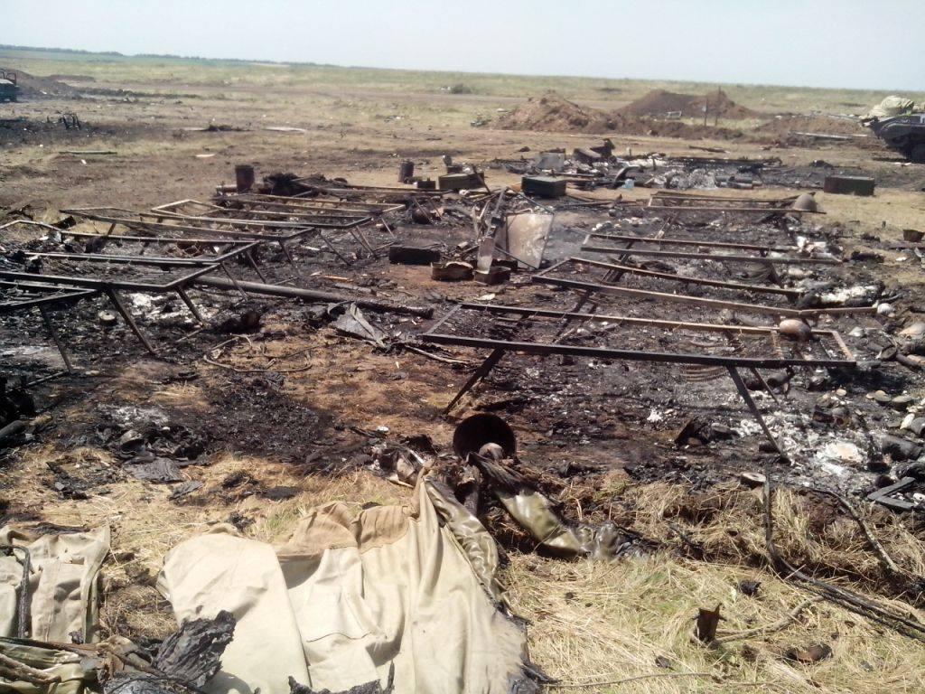 Знищений табір українських військових біля Зеленопілля
