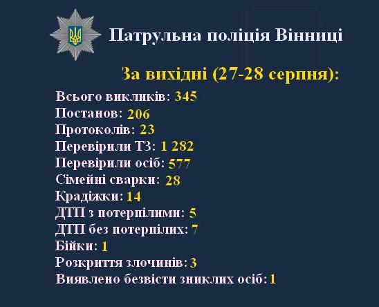 За вихідні патрульні поліцейські Вінниці отримали 345 викликів