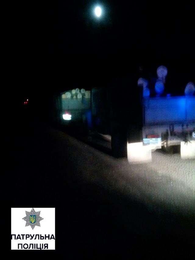 Неподалік Вінниці поліцейські зупинили дві вантажівки, які перевозили нелегальну деревину