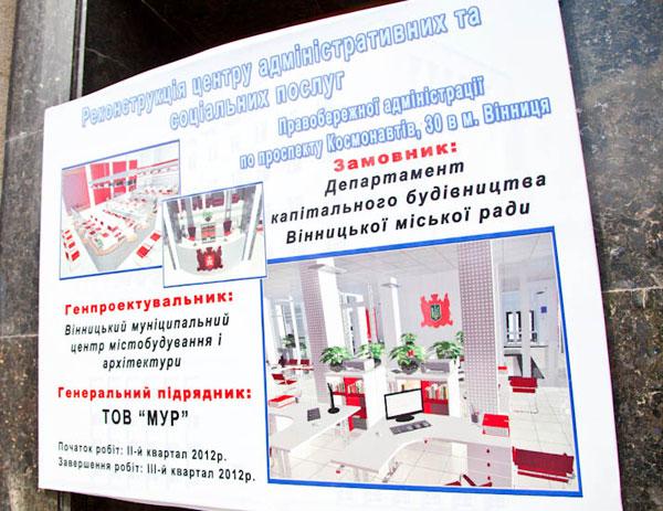 реконструкція Правобережної адміністрації у Вінниці