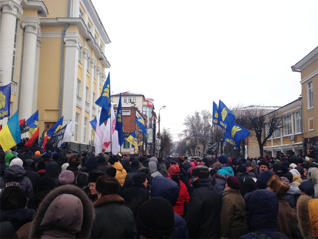 У Вінниці через акцію протесту перекритий рух вулицею Соборна