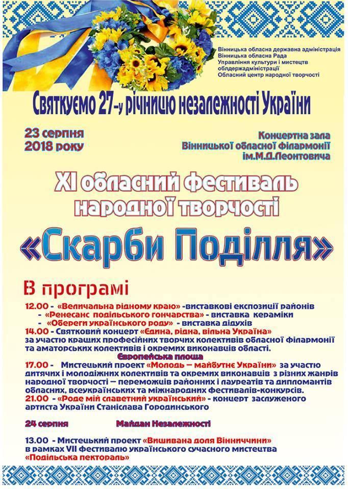 """Обласний фестиваль народної творчості """"Скарби Поділля"""""""